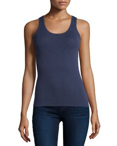 Superfine Ribbed Tank, Vapid - Neiman Marcus Cashmere Collection