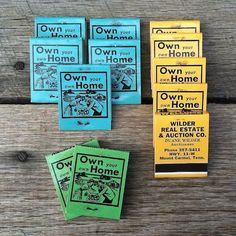 12 BULK WHOLESALE 1960s OWN YOUR OWN HOME Matchbook REAL ESTATE Matches LOT