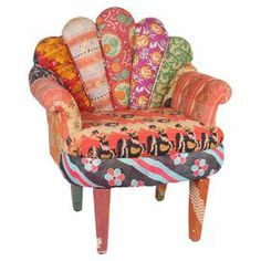 """Crafted from mango wood with a peacock-style back and vintage kantha cloth upholstery, this one-of-a-kind accent chair brings bright bohemian-inspired style to your decor.   Product: ChairConstruction Material: Mango wood and vintage cottonColor: MultiFeatures: One-of-a-kindDimensions: 29"""" H x 20"""" W x 33"""" D"""