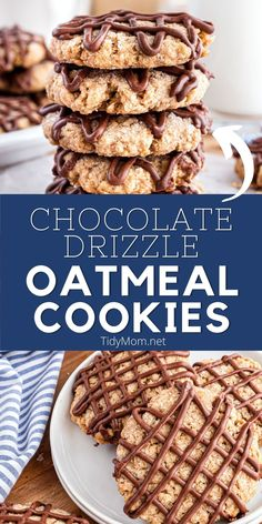 OATMEAL COOKIES WITH CHOCOLATE DRIZZLE are insanely delicious! The EGGLESS OATMEAL COOKIES are baked to perfection - slightly chewy and slightly crunchy and drizzled with chocolate! PRINTABLE RECIPE at TidyMom.net