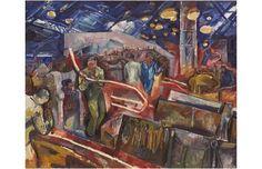 Artist: Raymond Rochette / Title: Laminoirs: le train fil ; face ouest. From the year 1958; Technique: Öl/Holz / Borrowed from: Écomusée du Creusot-Montceau, Le Creusot, France