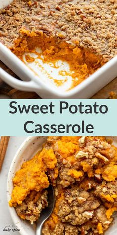 This easy homemade sweet potato casserole from Live Well Bake Often is easy to make and topped with a crunchy pecan streusel. Sweet potato casserole is a favorite classic holiday recipe. This simple side dish is a family favorite and perfect for Thanksgiving! #sweetpotatocasserole #easyrecipe #sidedish #homemadecasserole Finger Food Appetizers, Finger Foods, 5 Ingredient Recipes, Sweet Potato Casserole, Side Dishes Easy, Cookie Desserts, Baking Recipes, Holiday Recipes, The Best