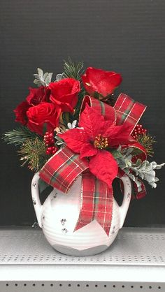 Red Christmas Roses and Plaid...Robin Evans