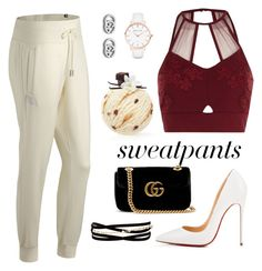 """#sweatpants"" by roxana20 on Polyvore featuring New Balance, Christian Louboutin, River Island, Gucci, Abbott Lyon and Kenneth Jay Lane"