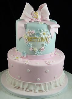 Birthday Cake for little Girl #FloralBirthdayCake, #PrincessCake