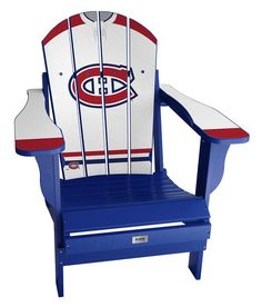 My Custom Sports Chair Jersey Resin Folding Adirondack Chair NHL Team: Montreal Canadiens Away Retro Office Chair, Home Office Chairs, Karim Rashid, Montreal Canadiens, Plywood Furniture, Hockey Decor, Chair And A Half, Cottage Furniture, Nhl Jerseys