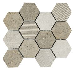 Hexagon Limestone Mosaic Tile Grey is a combination of hexagon limestone grey pieces in three different finishes: honed, brushed, and carved. It is suitable for kitchen backsplash, shower walls, shower floors, bathroom, fireplace surrounds, and feature walls.
