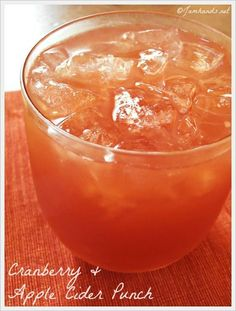 Cranberry & Apple Cider Punch! Calls for ginger ale, maybe sub it for ...