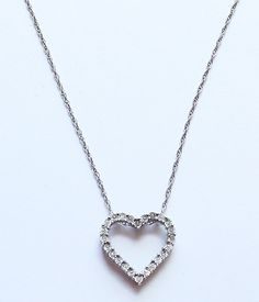 Vintage STERLING SILVER 925 Jeweled Heart Shaped Pendant Necklace by paststore on Etsy