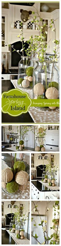 FARMHOUSE SPRING KITCHEN VIGNETTE ON THE ISLAND- Here 's an easy way to decorate for spring