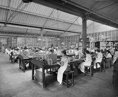 Women working at Teofani Cigarette Factory, Brixton, 1916