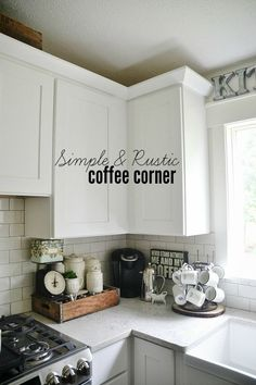Coffee Station Cozy kitchen coffee corner - how to keep a coffee corner organized & decorated.Cozy kitchen coffee corner - how to keep a coffee corner organized & decorated. Small Kitchen Storage, Cozy Kitchen, Kitchen On A Budget, Kitchen Redo, New Kitchen, Kitchen Cabinets, Kitchen Organization, Kitchen Ideas, Organization Ideas