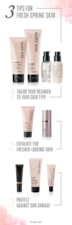 Fresh skin for spring! New skin concerns commonly appear during seasonal changes, so make sure you find the perfect skin care set for your skin type. You'll also be outside more, so SPF is an absolute essential. SPF15 protects against damaging UVA and UVB rays. | Mary Kay
