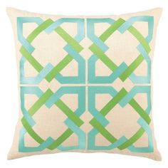A chic complement to Palm Springs-inspired decor, the Geometric throw pillow boasts a tile pattern of interlocking shapes in aqua blue and vibrant green. This Trina Turk design is handcrafted with a focus on contemporary style for your bedroom, den or living space.