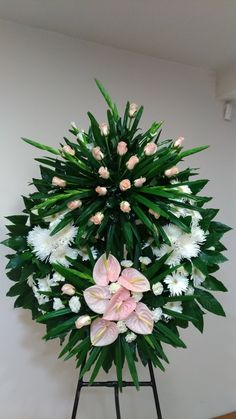 Funeral Floral Arrangements, Tropical Flower Arrangements, Creative Flower Arrangements, Church Flower Arrangements, Luxury Flowers, Unique Flowers, Exotic Flowers, Cemetary Decorations, Corona Floral