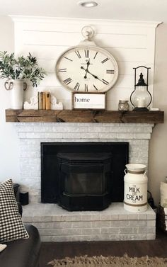54 Rustic Farmhouse Fireplace Ideas For Your Living Room. Effective decoration of your living room depends on its size and shape. While decorating your living room, always keep in mind that . Sofa Layout, Diy Home Decor Rustic, Easy Home Decor, Decor Diy, Rustic Mantle Decor, Fall Decor, Country Decor, Rustic Wood, Farmhouse Side Table