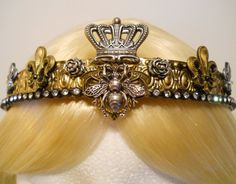 Queen Bee Crown Gold Tiara Filigree for a by MyFairyJewelry, $90.00