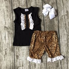 >> Click to Buy << new arrival summer baby girls boutique clothes black leopard shorts sleeveless ruffles cotton outfits kids wear match bow #Affiliate