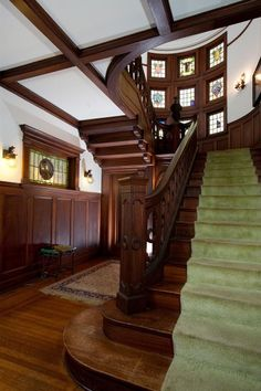 Staircase of Rosenheim Mansion in L.A. AKA as Murder House on American Horror Story. Beautiful home.