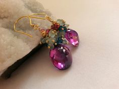 Russian Alexandrite with Aqua Chalcedony and shades of tourmaline cluster in 24k gold vermeil