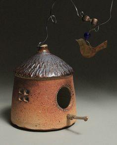 Rustic Soda Fired Ceramic Bird House van jkingceramics op Etsy