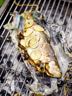 We tried this fish-wrapped-newspaper recipe by Jamie Oliver a few times on the BBQ. It's worked perfectly no matter which fish we've used. Best Bbq Recipes, Barbecue Recipes, Grilling Recipes, Seafood Recipes, Cooking Recipes, Cooking Fish, Barbecued Fish Recipes, Healthy Recipes, Grilled Trout