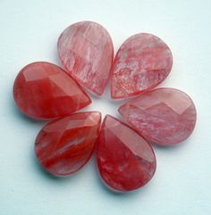 Strawberry Quartz Faceted Pear Shaped Pendant by ThisPurplePoppy, $1.20