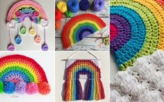 These patterns will be a treat for fans of handmade home decor. Let's enjoy the rainbow together! Crochet Craft Fair, Crochet Home Decor, Crochet For Kids, Crochet Crafts, Free Crochet, Knit Crochet, Crochet For Dummies, Rainbow Crochet, Rainbow Decorations