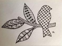 Zentangle doodle bird on a branch...by Deborah Gregg