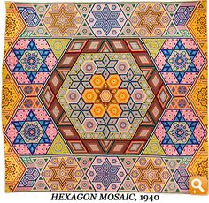 """Hexagon Mosaic, 1940 - GRACE SNYDER. """"Hexagon Mosaic is perhaps Grace's most intricate work — in fact, Grace herself thought it was one of her finest quilts. The original design, created by Albert Small of Illinois, included 63,450 pieces and appeared in a magazine article in the late 1930s. Intrigued by the quilt, Grace asked Albert to send her the tiny template. Grace's Hexagon Mosaic was bed-sized by the time she had hand-stitched well over 58,000 pieces together."""""""