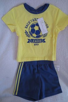 34d67e9af Boy Toddler Short Set 2 pieces Size 12 Months Soccer Blue/Yellow New  #FirstImpressions