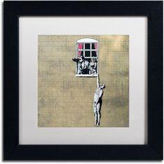 Trademark Fine Art Scandal Canvas Art by Banksy, White Matte, Black Frame, Size: 11 x 11, Multicolor