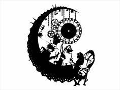 Alice In Wonderland Tattoo Sleeve, Alice In Wonderland Silhouette, Alice In Wonderland Clocks, Alice In Wonderland Drawings, Wonderland Party, Cartoon Silhouette, Mad Hatter Tattoo, Mad Hatter Drawing, Clock Drawings