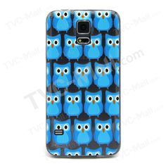 Embossment Slim TPU Phone Case for Samsung Galaxy S5 G900 - Cute Blue Owls