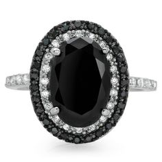 Sterling Essentials Silver Black Oval and White CZ Cocktail Ring
