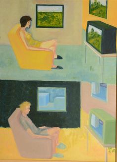 Television (48 x 63 cm) I am sitting in front of my reality… FOR SALE 175 EUR