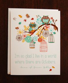 greeting card / blank card / note card / stationary / anne of green gables / autumn