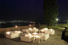 Lake Como, Italy. The Amethyst of Bellagio. Evening terrace upequipped as a relaxation area . More pictures on www.lakecomoweddingdream.com #lakecomo #lakecomowedding #destinationwedding #lakecomovenues