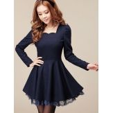 Wholesale Elegant Lace Trim Square Collar Dress