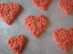 The easiest Valentine's Day goodies ever -- heart-shaped Rice Krispie treats!