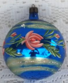 Vintage Glass Christmas Tree Ornament Blue Pink Floral Hand Painted Poland…