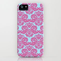 Pink Blue Damask Pattern iPhone Case by Doodle's Designs - $35.00    Victorian era inspired damask pattern with a twist. This feminine graphic pattern features bright girly colors of a light turquoise blue and pink.