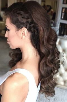 Curly All Down Brunette Hair with a Side Bride.