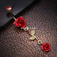 Golden Bright Metal Rose Belly Button Ring-Red