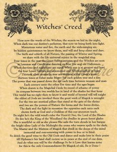 WITCHES CREED, Book of Shadows Spells Pages, Wicca, Witchcraft, Pagan, BOS Page