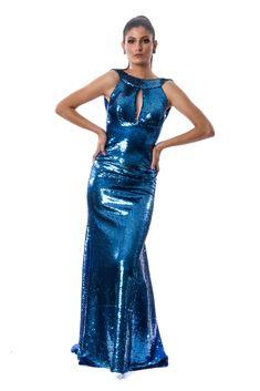 b7fcdfa956 Vestido de festa azul royal em paete com decote gota e nas costas Atelier  Lucinha Silveira