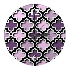 Unique, classy, trendy and pretty wallclock. Beautiful classic pink, violet and purple Moroccan quatrefoil lattice mosaic design. Vintage trellis quatre foil pattern for the hip fashion trend setter, stylish retro, modern abstract geometric or nouveau deco art motif lover. Cool and fun gift for the girly girls or mom's birthday, Mother's day, or Christmas present. Elegant and cute wall clock for the master or children's bedroom, dorm, nursery, living or family room, beach house or vacation…