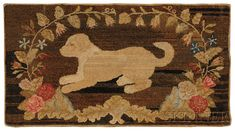Wool Hooked Rug with Playful Dog Motif | Sale Number 2468, Lot Number 108 | Skinner Auctioneers