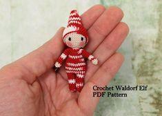 Micro patrón de Elf, Tutorial elfo de Waldorf, Waldorf minúsculo, patrón del ganchillo, Tutorial PDF, Valentín Elf, Elf miniatura (sólo en inglés)