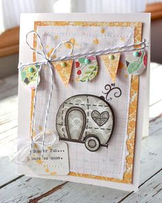Mish Mash: Cute card with camper and banner - love!